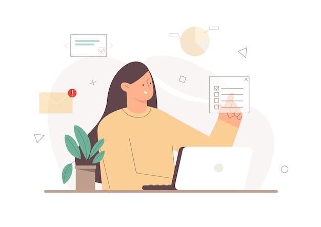 Trabalhador trabalhando com um laptop apontando o dedo na marca de seleção