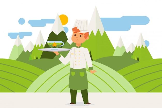 Trabalhador trouxe bebida herbal quente, ilustração de chá verde. homem de túnica e boné segura a bandeja com copo transparente de chá.