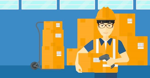 Trabalhador, verificação de código de barras na caixa