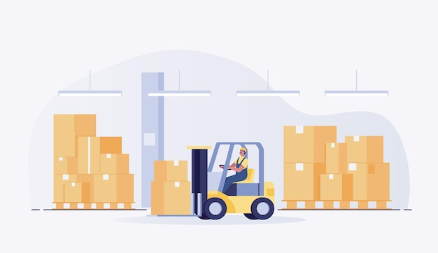 Trabalhador warehouseman com uma empilhadeira. ilustração vetorial
