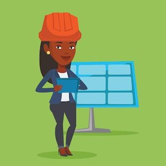 Trabalhadora da usina de energia solar.