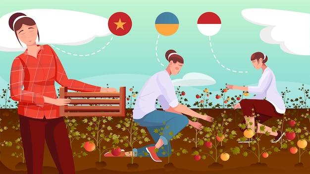 Trabalhadoras migrantes de diferentes países colhendo safras em ilustração plana de campo