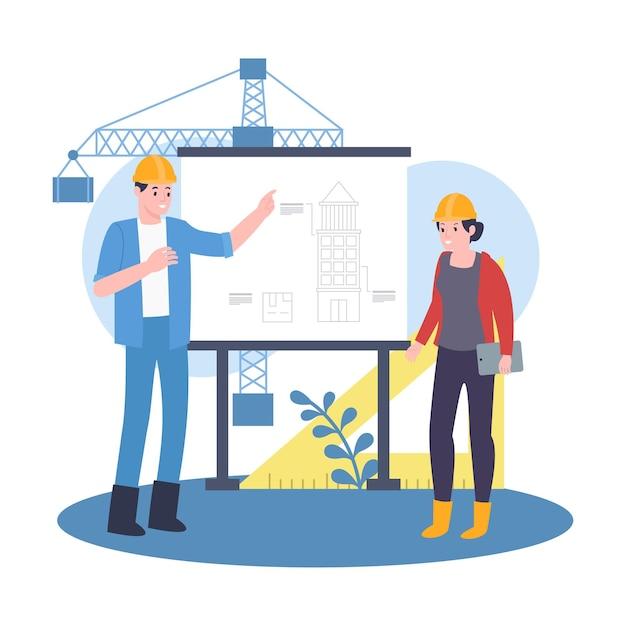 Trabalhadores arquitetos estão discutindo o progresso do desenvolvimento