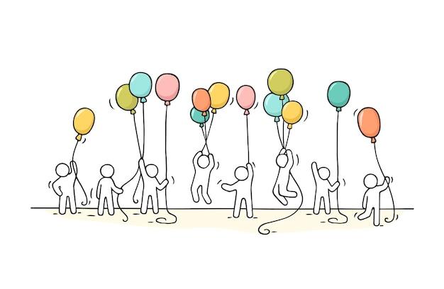 Trabalhadores com balões