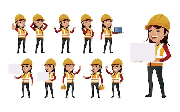 Trabalhadores com diferentes poses.