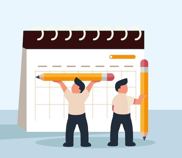 Trabalhadores com lápis de calendário