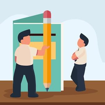 Trabalhadores com lápis