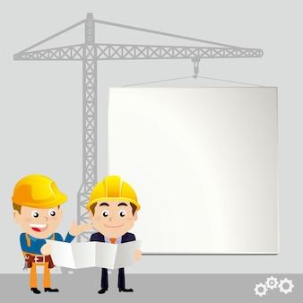 Trabalhadores com quadro branco