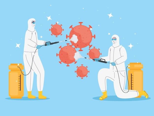 Trabalhadores com roupas de risco biológico, desinfecção e ilustração de partículas