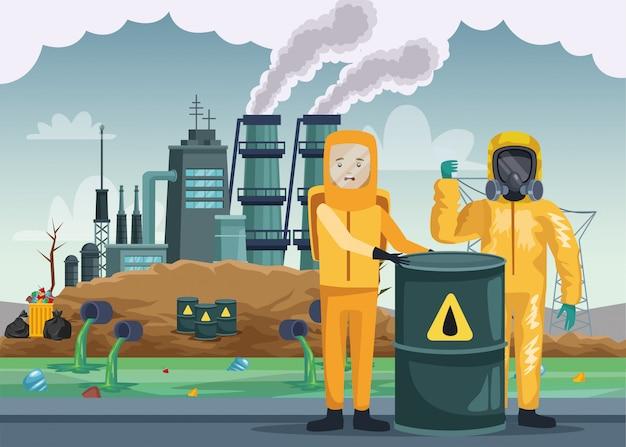 Trabalhadores com traje industrial e barril nuclear
