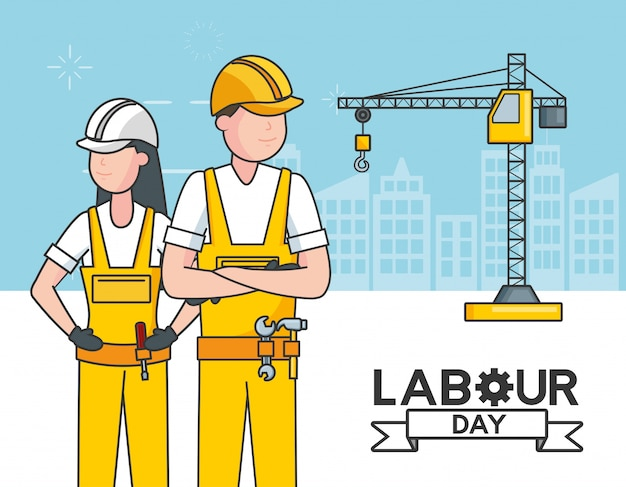 Trabalhadores com um guindaste, edifícios, ilustração