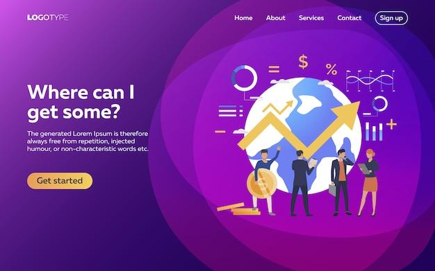 Trabalhadores conquistando negócios em páginas da web em todo o mundo