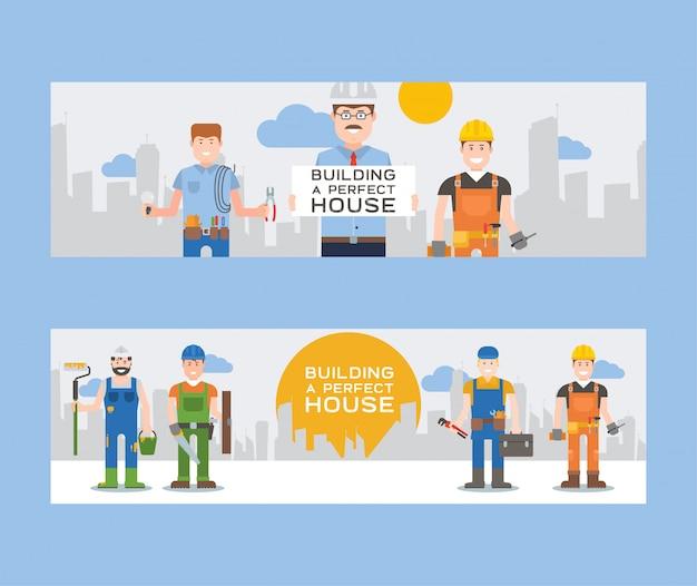 Trabalhadores construtores e engenheiros com conjunto de banners ou ferramentas de trabalhadores em capacete de segurança segurar escada, pá e balde, kit de ferramentas, broca, martelo.