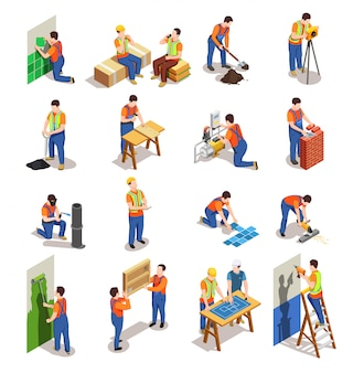 Trabalhadores da construção civil com coleção de equipamentos profissionais