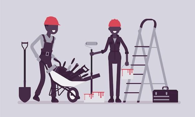 Trabalhadores da construção civil com equipamento profissional
