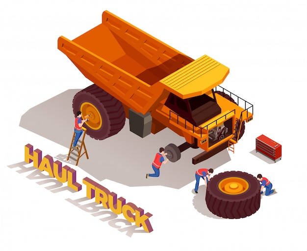 Trabalhadores da construção civil com ferramentas durante a reparação de caminhão