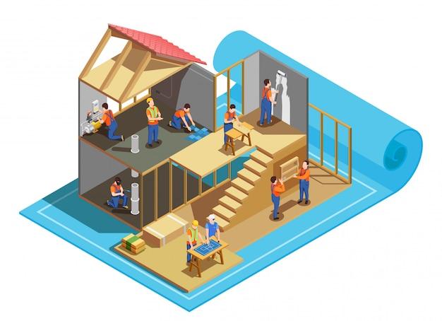 Trabalhadores da construção civil com ferramentas profissionais e blueprint