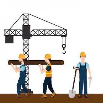 Trabalhadores da construção civil com sob ícones de construção