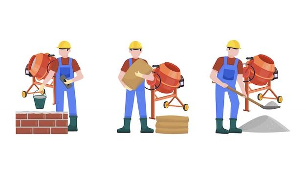 Trabalhadores da construção civil construindo um conjunto de caracteres de casa