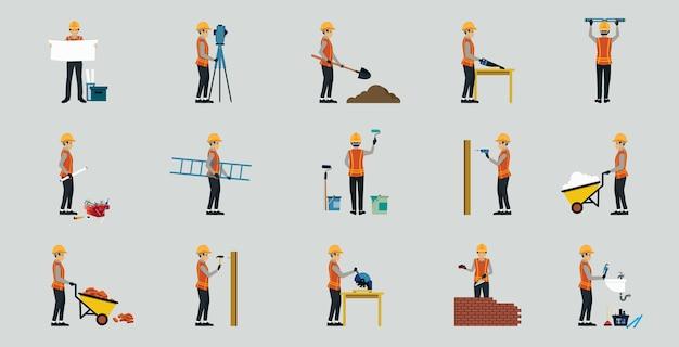 Trabalhadores da construção civil de uniforme com segurança no local de trabalho