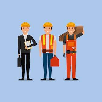 Trabalhadores da construção civil engenheiro contramestre empregado