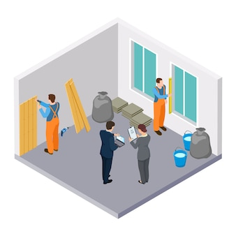 Trabalhadores da construção civil isométrica, ilustração isométrica de reparação de sala