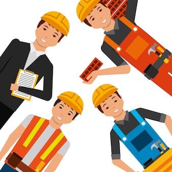 Trabalhadores da construção civil que usam uniforme e ferramentas de capacete amarelo diferentes