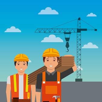 Trabalhadores da construção civil segurando guindaste de madeira no fundo do céu