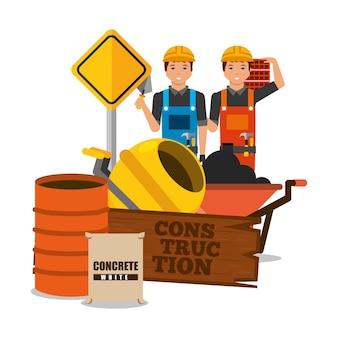 Trabalhadores da construção civil tabuleiro de madeira barril misturador de concreto barril saco e tijolo