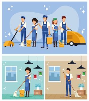 Trabalhadores da equipe de limpeza com cenas de equipamentos