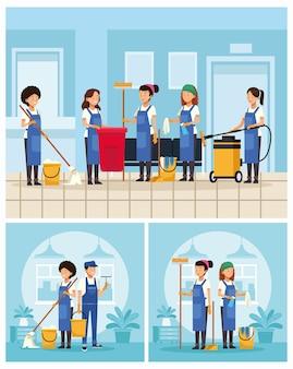 Trabalhadores da equipe de limpeza com cenas de ferramentas