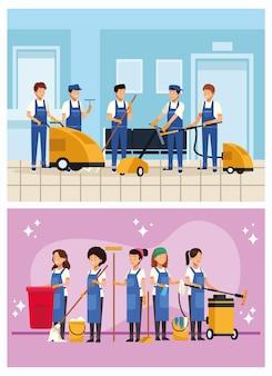 Trabalhadores da equipe de limpeza com equipamentos e ferramentas em cenas internas