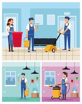 Trabalhadores da equipe de limpeza com ferramentas de equipamento