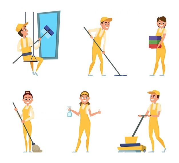 Trabalhadores da equipe de serviço de limpeza