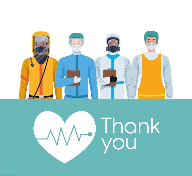 Trabalhadores da equipe médica obrigado design ilustração de mensagem