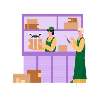 Trabalhadores da transportadora fazem ilustração isolada de entrega de drone