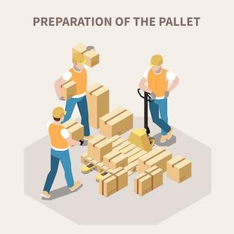 Trabalhadores de armazém, colocando caixas de papelão em paletes de madeira 3d isométrica ilustração em vetor