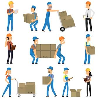 Trabalhadores de armazém e entrega.