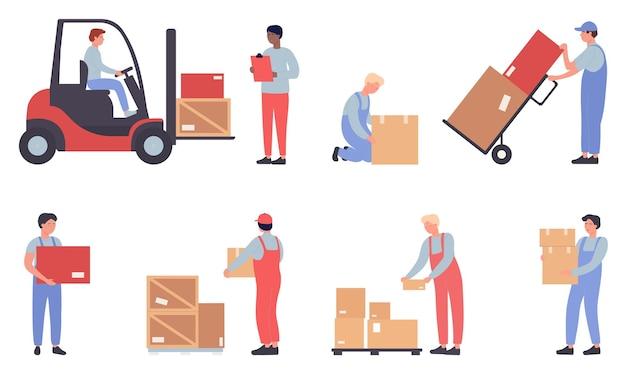 Trabalhadores de armazém fazendo trabalhos isolados Vetor Premium