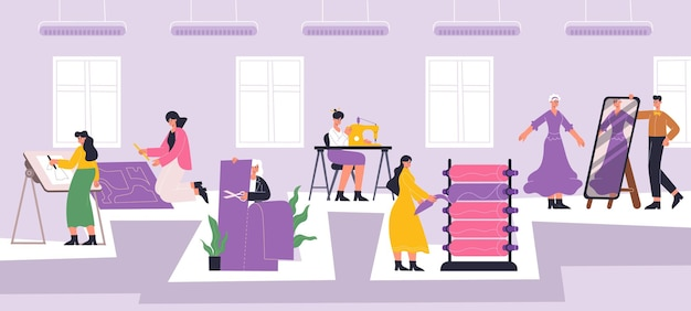 Trabalhadores de ateliê de moda, costura, interior de oficina de costura. funcionários da indústria têxtil, ilustração vetorial de processo de costura. fábrica têxtil ou ateliê