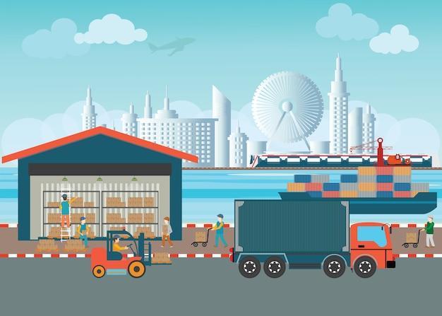 Trabalhadores de caixas de carga de armazém e paletes