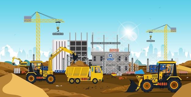 Trabalhadores de canteiros de obras construindo uma cidade no deserto