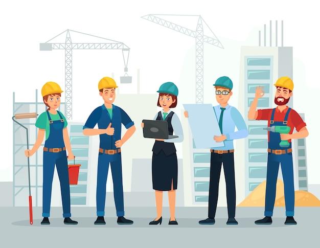 Trabalhadores de engenharia e construção, grupo de engenheiros de obras e pessoal técnico.