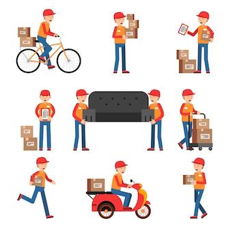 Trabalhadores de entrega. conjunto de caracteres diferentes. homem de serviço