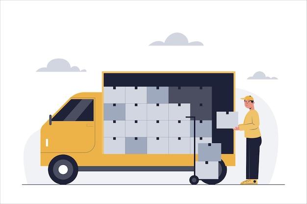 Trabalhadores de entrega estão colocando produtos dentro dos caminhões para entrega à empresa solicitante