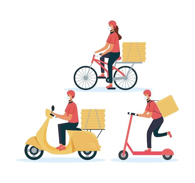 Trabalhadores de entrega segura de alimentos em diferentes veículos
