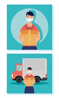 Trabalhadores de entrega usando máscaras, caixas de levantamento no caminhão