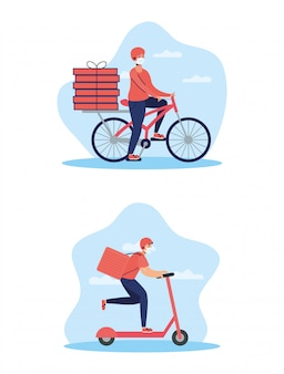 Trabalhadores de entrega usando máscaras em bicicleta e skate