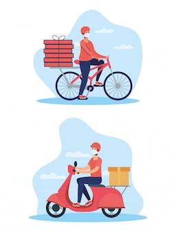 Trabalhadores de entrega usando máscaras em moto e bicicleta
