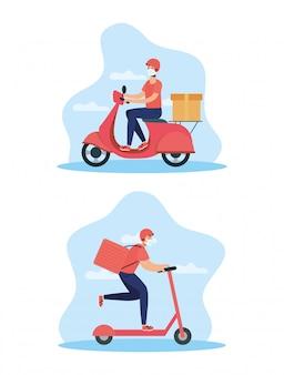 Trabalhadores de entrega usando máscaras em moto e skate